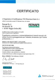 Ferval - Certificato ISO 9001:2008 ACCREDIA