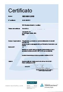 Ferval - Certificato ISO 9001:2015 ACCREDIA