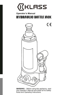 HYDRAULIC BOTTLE JACK - OPERATOR'S MANUAL